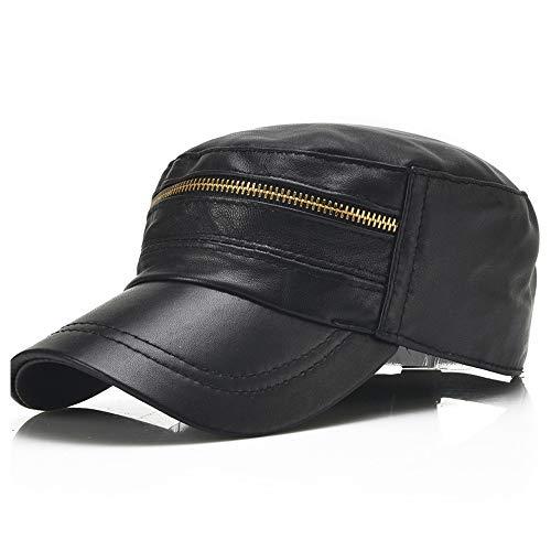 GHC Casquettes et Chapeaux Printemps Et Automne Nouveaux Chapeaux De Cuir des Hommes Coréens Light Board Zipper Single Leather Caps (Couleur : Noir, Taille : 56-60CM)