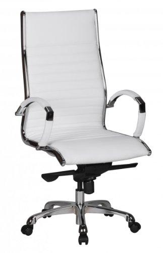Amstye Chefsessel, Bürostuhl, Schreibtischstuhl BZW. Drehstuhl mit Echtleder in Weiß Belastbarkeit 120 kg und höhenverstellbar