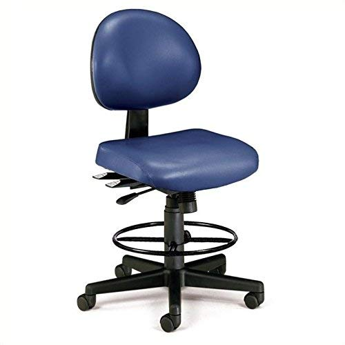 OFM Core Collection 24 Hour Ergonomic Armless Task Chair with Drafting Kit, Anti-Microbial/Anti-Bacterial Vinyl, in Navy (241-VAM-DK-605)