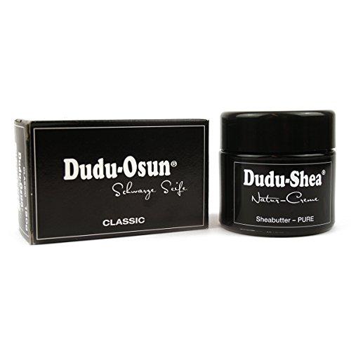 Dudu-Osun Classic Lot de 1 crème naturelle au beurre de karité 100 % pur 100 ml + 1 savon noir Dudu-Osun Classic d'origine d'Afrique – Savon noir original 150 g