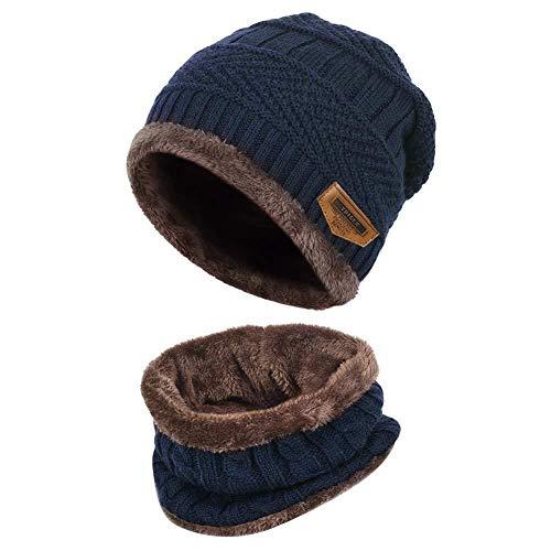 Byou Beanie Gebreide muts en sjaal, wintermuts voor dames en heren, warme wintermuts, sjaal met fleece-voering voor binnen en buiten