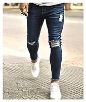 DHSX 男性デニムジーンズスリムスキニージェギングストレッチデニムパンツメンズカジュアルニーホールリッピングスキニーファッションジーンズデニムパンツプラスサイズジーンズ (Color : Blue, Size : XXX-Large)