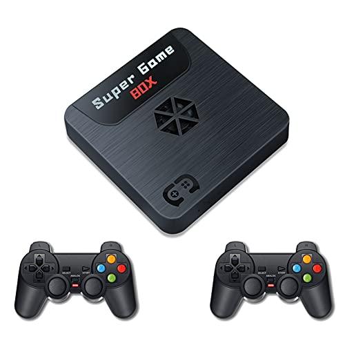ADAGG Consola de videojuegos retro 2.4G 3D HD TV con mando con cable, consola de videojuegos 9163 integrada con tarjeta 64GTF