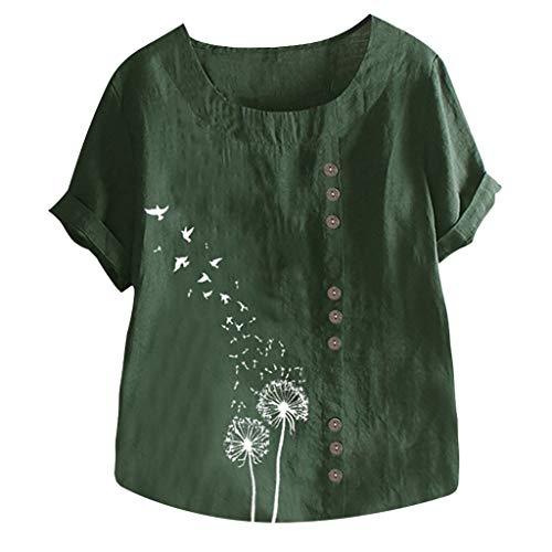 VEMOW Camiseta Mujer Casual Talla Extra Manga Corta Elegante Algodón Lino Cuello Redondo Impresión Blusa Parte Superior Tops Shirts tee Verano OtoñO(E Verde,2XL)