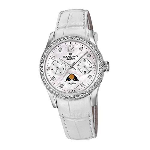 Candino Reloj de pulsera para mujer C4684/1, moderno, analógico, de cuarzo, de piel, color blanco, D2UC4684/1