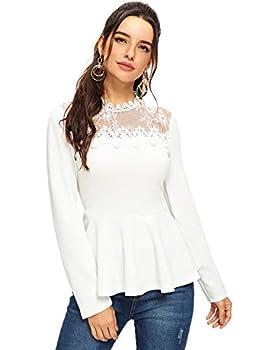 Romwe Women s Lace Mesh Round Neck Pleated Elegant Slim Fit Peplum Top Shirt Blouse  X-Large White
