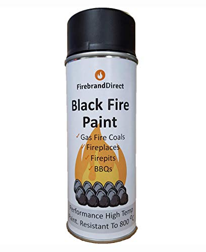 Black Fire Paint. for Gas Fire Coals, Fireplaces, Fire Pits, BBQs. 400ml, Heat Resistant to 800C – by Firebrand Direct