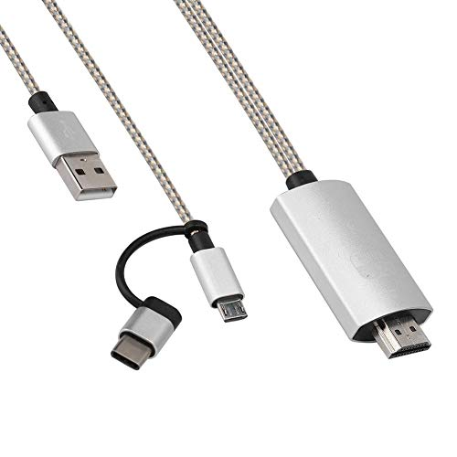 Hakeeta HDMI Adapter Kabel, Universeel, Telefoon/Tablet naar TV/Projector, Screen Mirroring Adapter, Project WebSite/Video/Foto's etc, Groot scherm kijkervaring, Metalen kleur