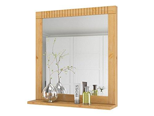 Loft24 Cheryl Spiegel mit Ablage Wandspiegel Badspiegel 60x60 cm Hängespiegel Holzspiegel Flur Kiefer massiv gebeizt geölt