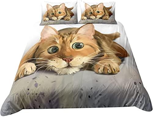 Juego de funda nórdica de 3 piezas para cama individual doble king super king size, juegos de cama de gato 3D Juego de edredón de microfibra suave con fundas de almohada y funda de edredón (