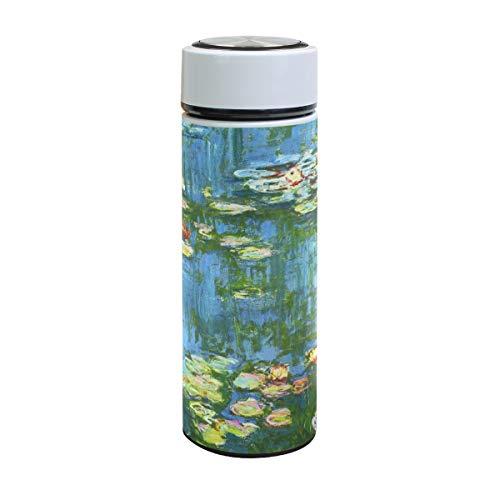 Claude Monet Ahomy Wasserlien Wasserflasche, doppelwandig, Vakuum, Edelstahl, 500 ml