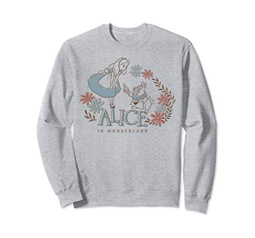 Disney Alice In Wonderland Alice And White Rabbit Floral Sweatshirt