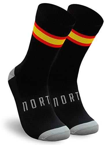 NORTEI - Calcetines Bandera España para Ciclismo, MTB y Running de Meryl para Hombre y Mujer – Spain – (M(40-42), Negro)