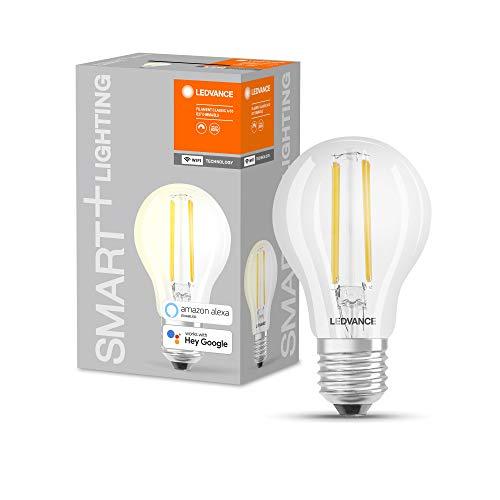 LEDVANCE Lámpara LED inteligente con tecnología WiFi, casquillo E27, regulable, blanco cálido (2700 K), sustituye a las lámparas incandescentes por 60W, SMART+ WiFi Classic Dimmable, pack de 2