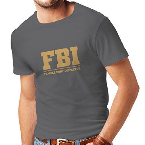 lepni.me Camisetas Hombre Inspector del Cuerpo Femenino - FBI - Citas de la Broma, Lemas Divertidos (Large Grafito Oro)