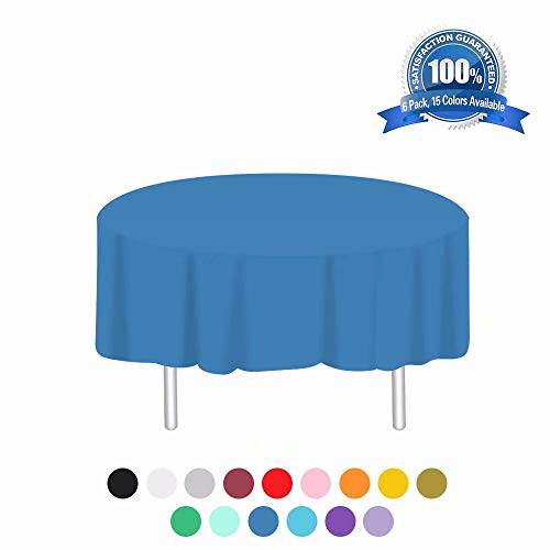 Anborfly Plastic Tablecloth 6 Pack Disposable Round Table Cloths 84in. x 84in. Table Covers for Parties Birthdays Picnic Weddings Christmas Indoor or Outdoor Use(Dark Blue)