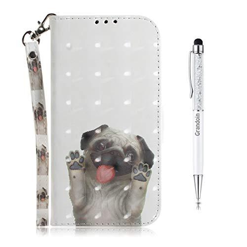 Grandoin Funda para Huawei Honor 20 / Nova 5T, Libro Caso Piel PU Soporte Plegable Ranuras Cartera con Tapa Tarjetas Magnético Cuero Flip Carcasas 3D Creativo Fundas Case Cover (Doguillo)