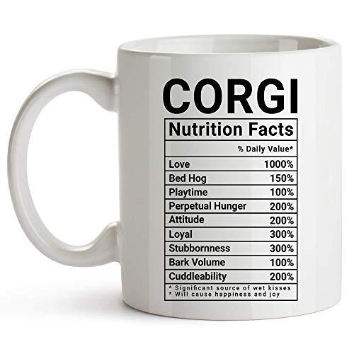 Kubek Corgi, biały, kubek do kawy z faktami żywieniowymi, prezenty dla miłośników Corgi dla kobiet 325 ml