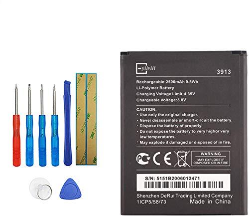 E-YIIVIIL 3913 Batterie de rechange compatible avec Wiko Robby/Kenny/Jerry 2/Lenny 4/Lenny 4 Plus/Harry avec kit d'outils