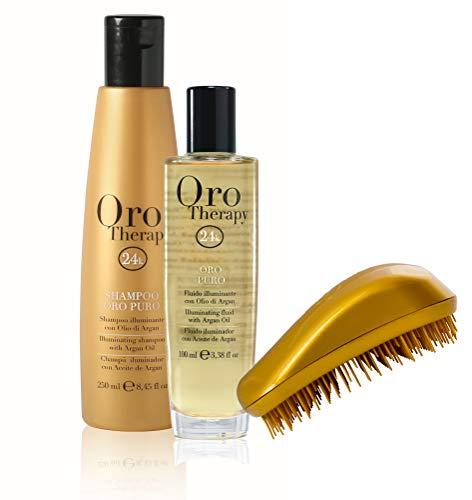 Fanola Oro Puro Therapy Set comprenant un shampoing 300 ml et un fluide Fanola Oro Puro Therapy 100 ml + une brosse offerte