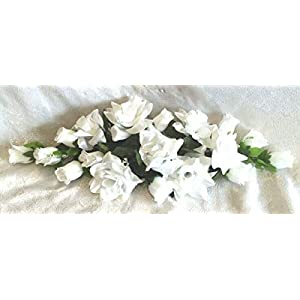 Floral Décor Supplies for 2 ft Artificial Roses Swag Silk Flowers Wedding Arch Table Runner Centerpiece for DIY Flower Arrangement Decorations – Color is White