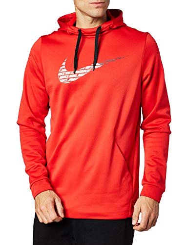 Nike Men's Therma Fleece Pullover GFX Dri Fit Athletic Hoodie (M) Red