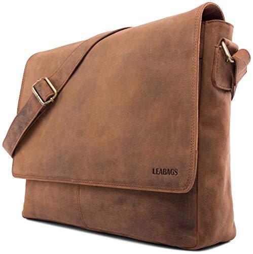 LEABAGS Oxford Umhängetasche Leder Laptoptasche 15 Zoll aus echtem Büffel-Leder im Vintage Look, (LxBxH): ca. 38x10x31 cm - Braun As Fox