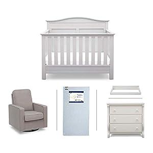Serta Barrett 5-Piece Nursery Furniture Set (Serta Convertible Crib, 4-Drawer Dresser, Changing Top, Serta Crib Mattress, Glider), White/French Grey