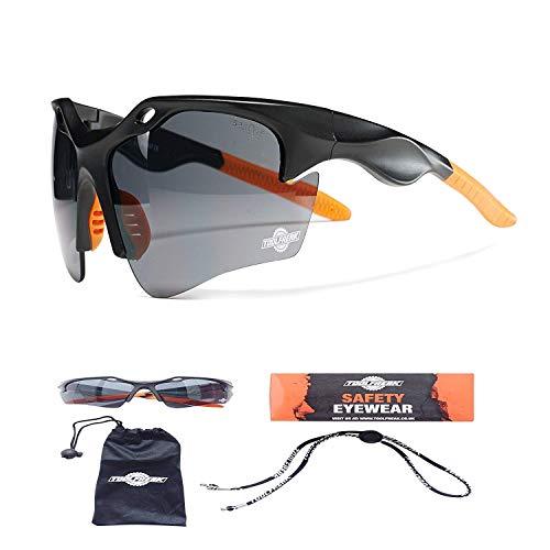 ToolFreak Finisher Safety Glasses Dark Smoke Tinted Polycarbonate Wraparound Lenses ,UV and Impact Protection
