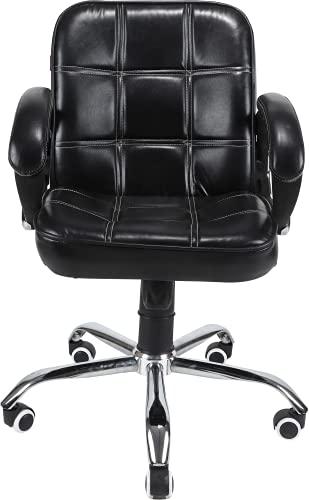 Oakcraft Medium Back Leather Revolving Chair/Computer Chair/Swivel Tilt Mechanism Chair/Black Office Executive Chair (Black)