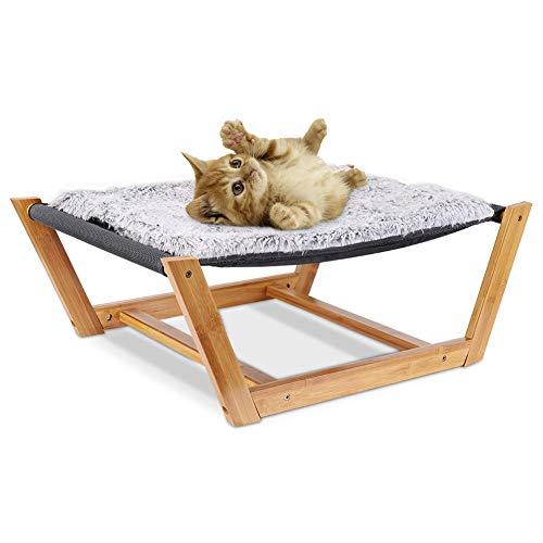 Bingopaw Hamaca para Gatos, Cama Elevada para Relajar Dormir Gatos Cachorros, con Malla Transpirable y Cojín de Felpa, Cama Desmontable y Lavable para Mascotas Pequeñas