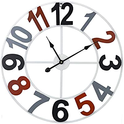 """Sorbus Large Decorative Wall Clock, 24"""" Round Oversized Chunky Number, Arabic Numeral Style Clock Modern Home Decor, Quartz Battery-Operated, Wood Metal Colorful"""