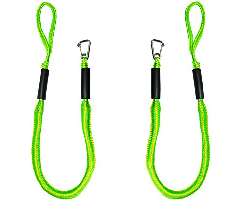 Bungee Boat Dock Lines 4 Feet Green Dockline Mooring Rope Boat Accessories Docking Lines PWC Shock Cords for Boats Kayak, Jet Ski, Pontoon, Canoe, Power Boat Wave Runner, SeaDoo, Watercraft 2pcs