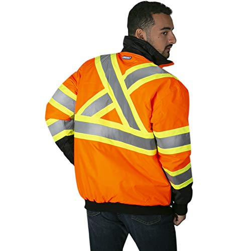 JORESTECH Safety Bomber Jacket Waterproof Reflective High Visibility Orange with Detachable Hood X in Back ANSI Class 3 Type R CSA Z96-15 Class 2 Level 2 JK-06 (S)