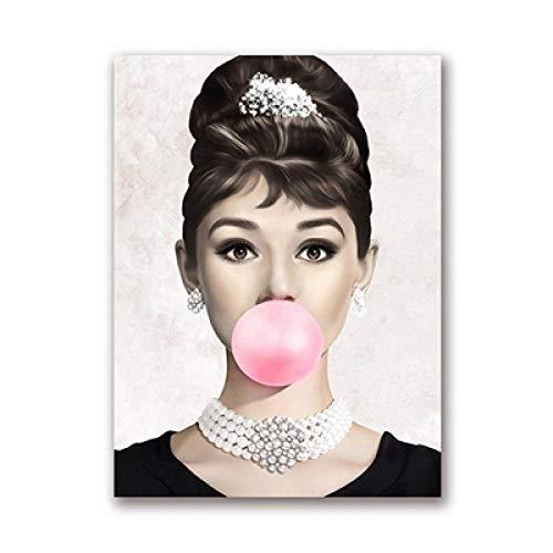 xuhpiar Audrey Hepburn Malen Nach Zahlen Erwachsene Kinder, DIY Handgemalt Ölgemälde auf Leinwand Geschenk Malen Nach Zahlen Kits Home Haus Dekor-Kein Rahmen 40 * 50 cm