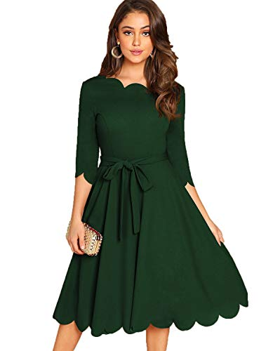 Milumia Women's Elegant Belted 3 4 Sleeve Fit Flare Cocktail Scallop Dress Dark Green Large