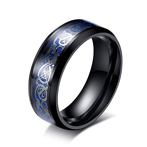 LEEYA NL12 8mm Tungsten Carbide Ring Silvering Celtic Dragon Blue Carbon Fibre Inlay Wedding Band Size 6-13 (9, Black)