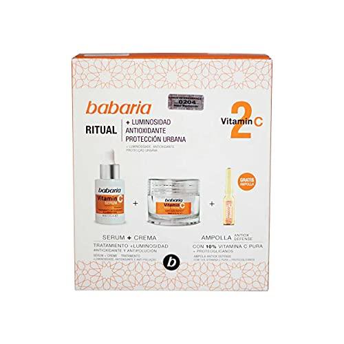Babaria, Pack facial Vitamina compuesto por un Serum Vitamina C 30ml, una Crema Facial Vitamina C 50ml y una Ampolla Flash Facial Vitamina C 2ml
