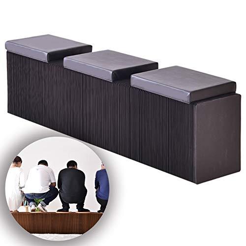 BYPING Faltpapier Hocker,Akkordeon Design Faltbar Verdicktes Quadratisches Kissen Kraftpapiermaterial Kann 3 Personen Aufnehmen, for Möbel Dekoration (Color : Black, Size : 160x43cm)