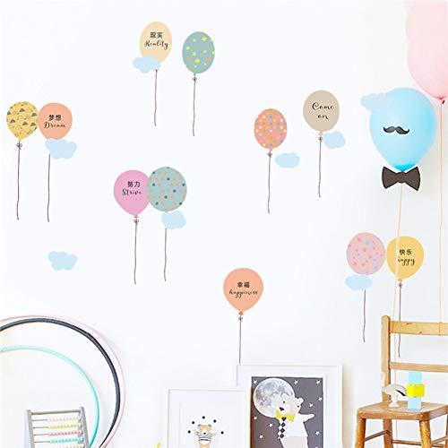 MMLFY Muursticker Kleurrijke ballonwolk Engels woorden muurstickers kinderen kamer garderobe decoratie zelfklevende stickers