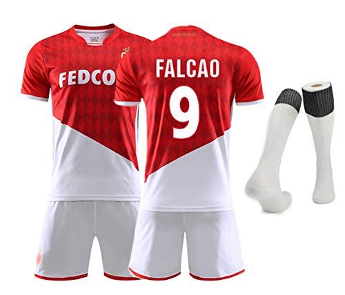 Fußballmannschaft T-Shirt Set, Golovin 17 Falcao 9 Dembélé 10 Fußballuniformen für Männer Erwachsene und Kinder Fußballuniform T-Shirt and Shorts and Socken Alle Größen-No 9-L