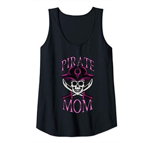 Mujer Disfraz pirata mam Halloween calavera mate mams piratas Camiseta sin Mangas