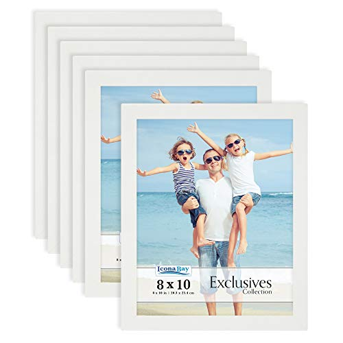 Icona Bay 8x10 Picture Frame (White, 6 Pack), White Sturdy Wood Composite Photo Frame 8 x 10, Sleek Design, Table Top or Wall Mount, Exclusives Collection