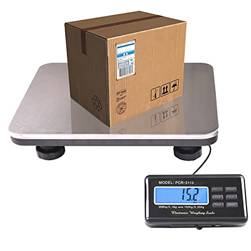 SurmountWay Shipping Scale 660lbs LCD Digital Platform Heavy Duty Portable Stainless Platform for Postal Shipping Scale Industrial Floor Scale W/ 14'X 12'
