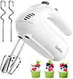 Hand Mixer Electric Mixer 350W Handheld Mixer 5 Speeds for Baking Cake Egg Cream Food Beater, Turbo Boost/Self-Control Speed + 5 Speed + Eject Button + 4 Stainless Steel Accessories