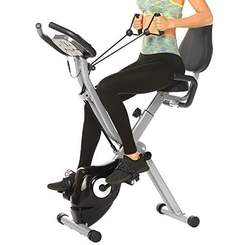 ANCHEER Cyclette Pieghevole da Fitness 10 Livelli di Resistenza Magnetica/Sedile Ampio e Confortevole, Bicicletta per Esercizio da Interni Supporto per Tablet/Monitor Digitale