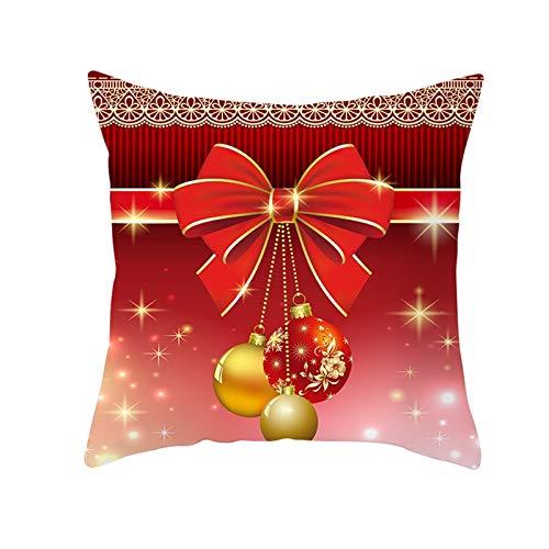Beydodo 1 Pieza de Fundas de Cojines Funda Cojin 45X45 Lazo con Bolas de Decoración de Navidad Rojo Oro