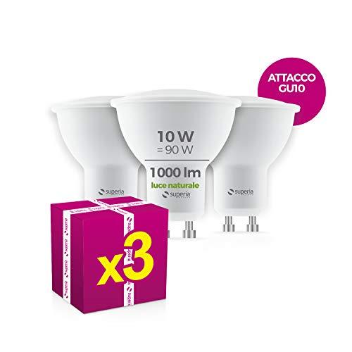 Superia Lampadina LED GU10 Wide 10W, (Equivalenti 90W), Luce Naturale 4000K, 1000 lumen, WE10N, Pacco da 3