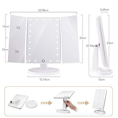 HAMSWAN卓上化粧鏡タッチセンサーLEDミラー2x3x拡大メイクミラー折りたたみ式三面鏡USBまたは電池式180角度調整可能スタンドミラーホワイト