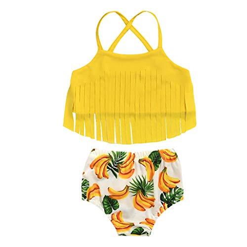 Fossen Kids Traje de Baño Niña, Trajes de Dos Piezas - Conjunto de Bikini de Baño de Playa con Estampado a Rayas para Bebés Niños Pequeños